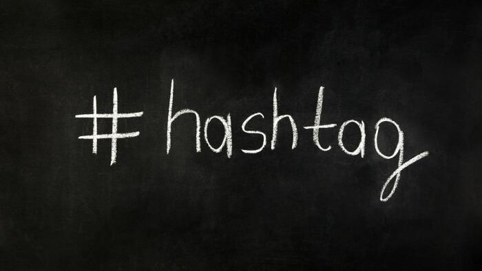 Hashtag on chalkboard